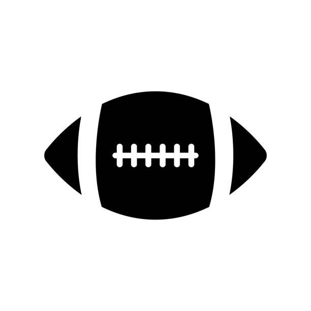 ilustraciones, imágenes clip art, dibujos animados e iconos de stock de icono de balón de fútbol americano en fondo blanco - football