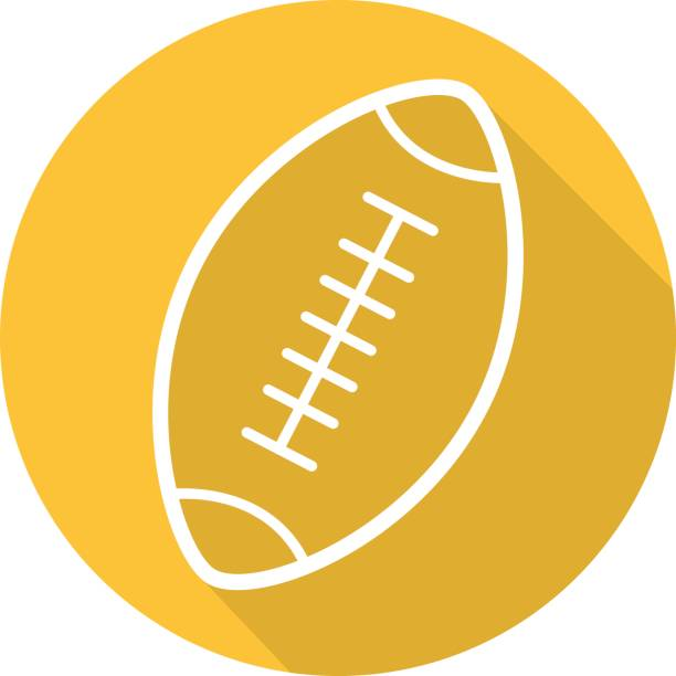 American football ball icon American football ball flat linear vector icon. Rugby ball american football league stock illustrations