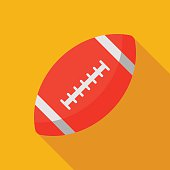 american football ball icon with long shadow. flat style vector