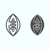 American football ball line and glyph icon. Rugby ball vector illustration isolated on white. Game outline style design, designed for web and app. Eps 10