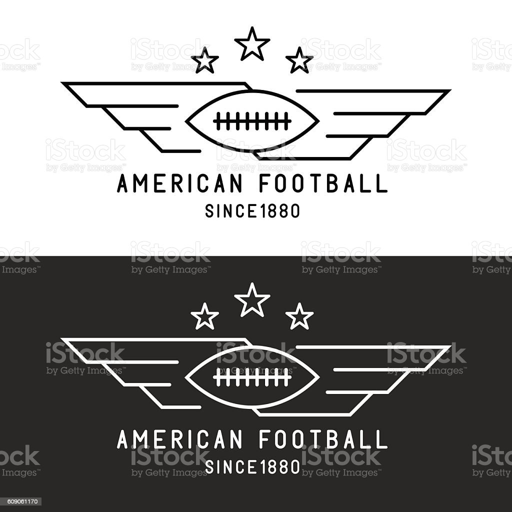 American football ball logo, flying with wings, sport tournament emblem vector art illustration