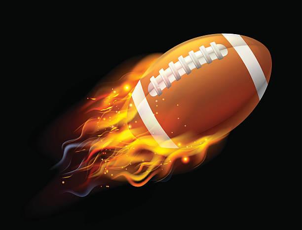 bildbanksillustrationer, clip art samt tecknat material och ikoner med american football ball on fire - fotboll eld