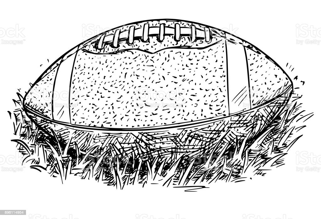 American Football Ball Vector Hand Drawing Illustration vector art illustration