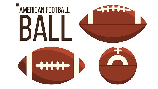 American Football Ball Vector Rugby Sport Equipment Different View Isolated Flat Illustration — стоковая векторная графика и другие изображения на тему Американский футбол