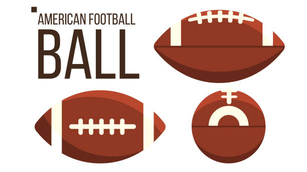 american football ball vector. rugby sport equipment. different view. isolated flat illustration - football stock illustrations, clip art, cartoons, & icons