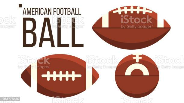 American Football Bal Vector Rugby Sportuitrusting Andere Weergave Geïsoleerde Vlakke Afbeelding Stockvectorkunst en meer beelden van American football