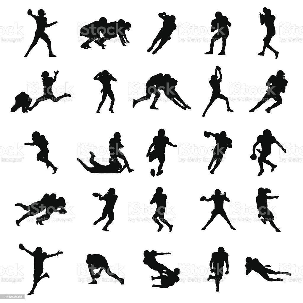 American Football negro siluetas ilustración vectorial - ilustración de arte vectorial