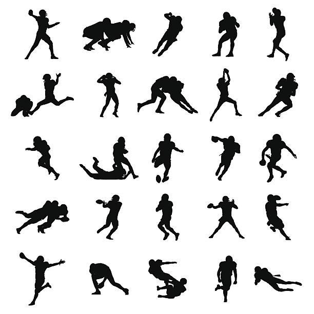 american football-schwarzer vektor-silhouetten abbildung - rugby stock-grafiken, -clipart, -cartoons und -symbole