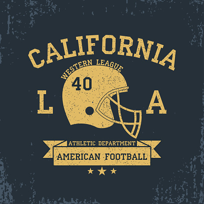 American Football, California Sport Typography. T-shirt graphics with grunge, helmet, ribbon. Print for sportswear, apparel, clothes. Vector
