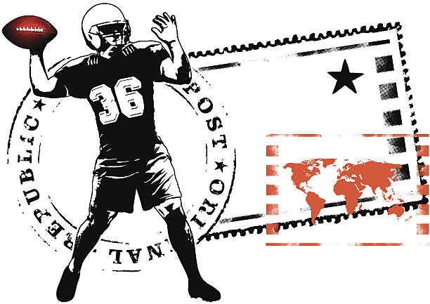 american football captain stamp mark vector art illustration