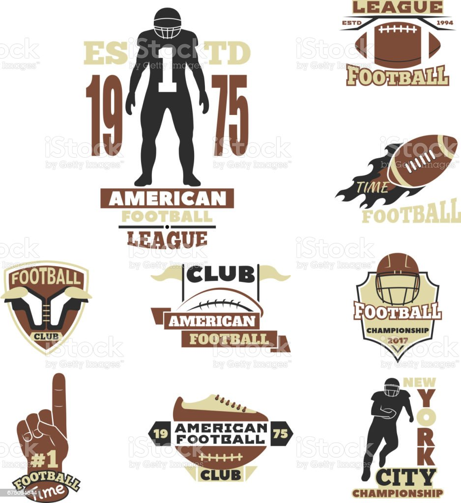 American football championship badge template for sport team with ball logo competition vector - Royalty-free Abstract stock vector