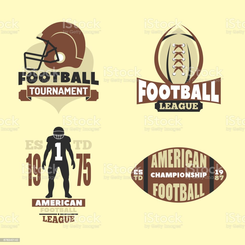 American football championship badge template for sport team with ball logo competition vector vector art illustration