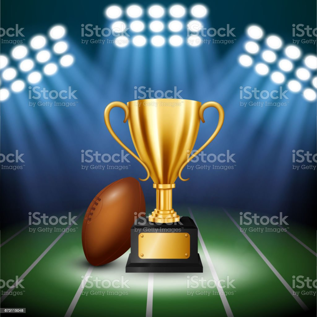 American Football Championship with Golden Trophy with illuminated spotlight, Vector Illustration vector art illustration