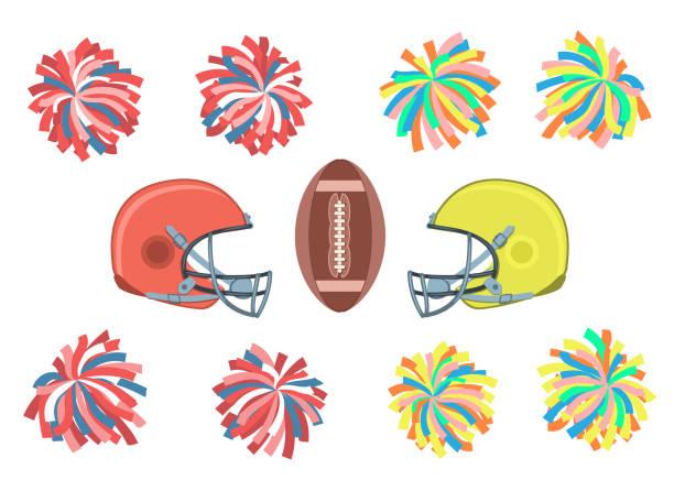 stockillustraties, clipart, cartoons en iconen met amerikaans voetbal collectie. - pompon