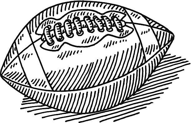 American Football Drawing Hand-drawn vector drawing of an American Football. Black-and-White sketch on a transparent background (.eps-file). Included files are EPS (v10) and Hi-Res JPG. american football stock illustrations