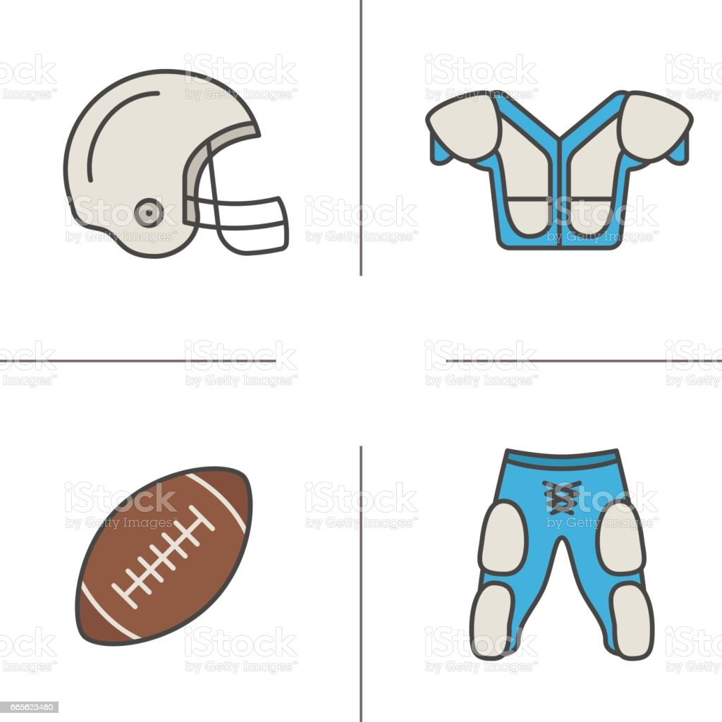 American football equipment icons vector art illustration