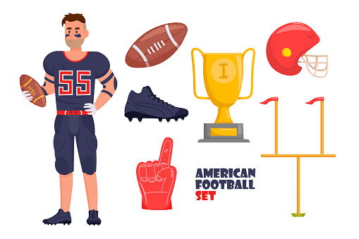 American Football equipment set with american football player in sport uniform holding a ball.