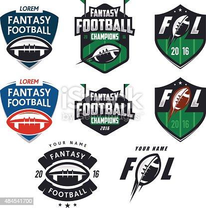 American football fantasy league labels, emblems and design elements