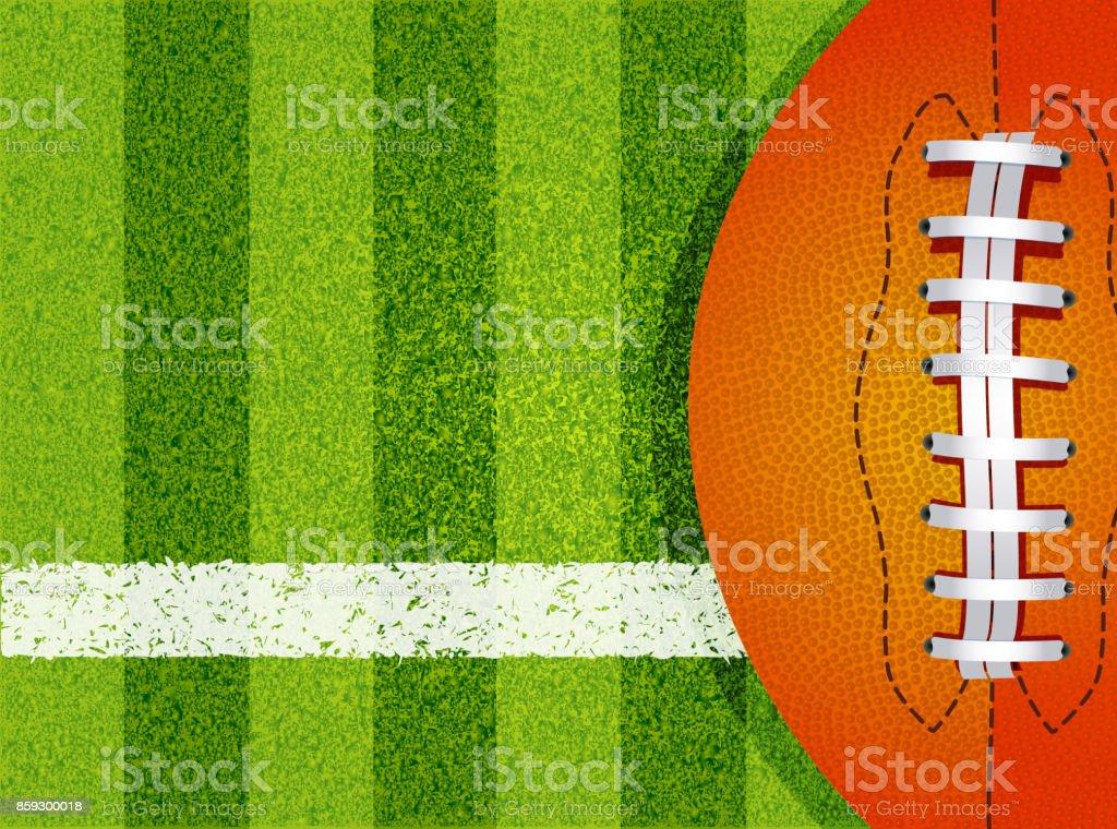 Pelota y campo de fútbol americano - ilustración de arte vectorial