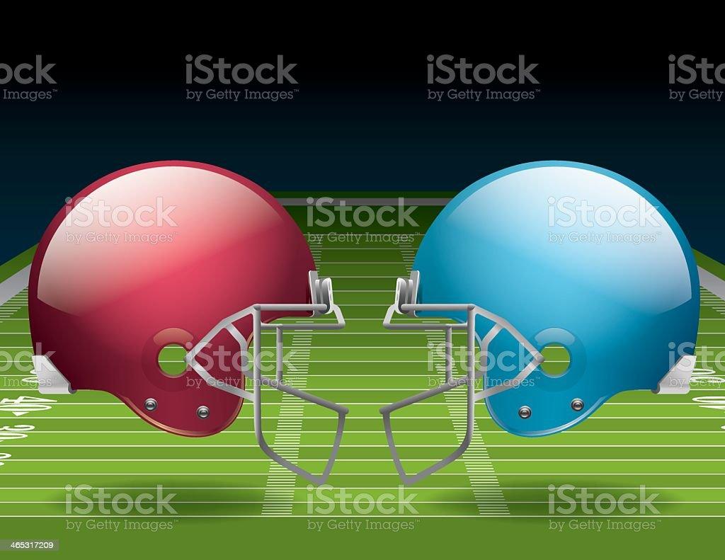 American Football Field and Helmets vector art illustration