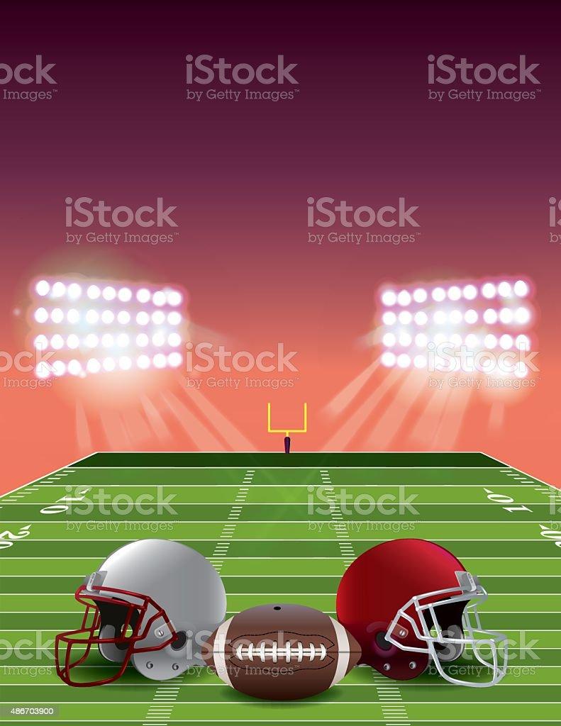 American Football Field at Sunset vector art illustration