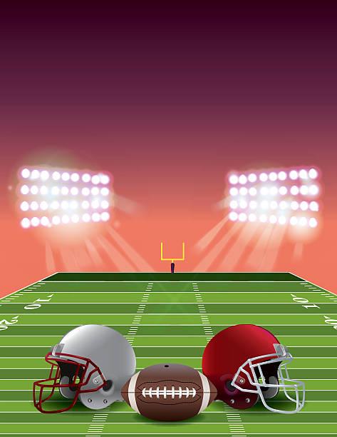 ilustrações de stock, clip art, desenhos animados e ícones de futebol americano campo ao pôr do sol - primeiro down futebol americano
