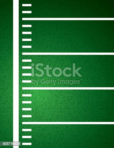 An American Football field sideline and yardline textured field background illustration. Vector EPS 10 available.
