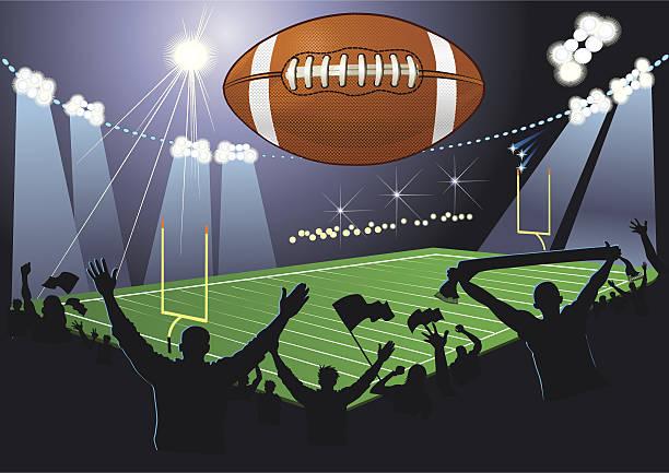 stockillustraties, clipart, cartoons en iconen met american football field. ball. fans - football friends tv night
