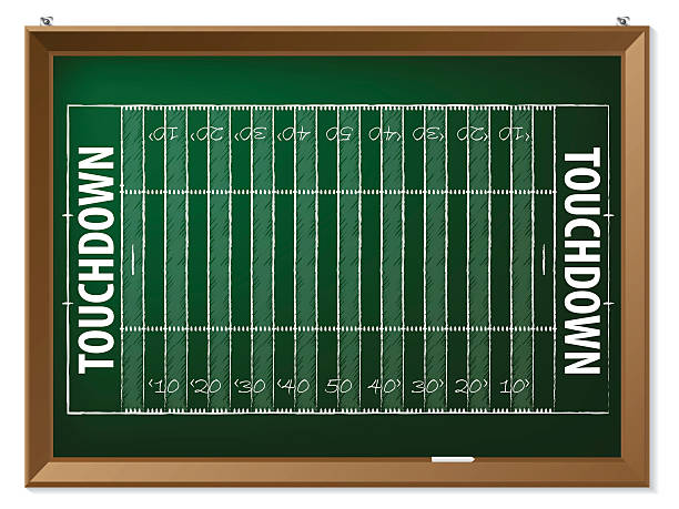 ilustrações de stock, clip art, desenhos animados e ícones de futebol americano no campo chalkboard desenhado - primeiro down futebol americano