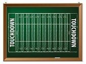 American football field drawn on chalkboard