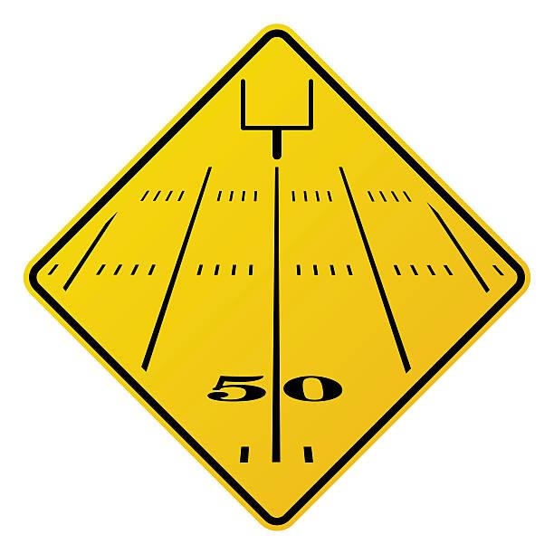 ilustrações de stock, clip art, desenhos animados e ícones de campo de futebol americano estrada sinal ilustração - primeiro down futebol americano