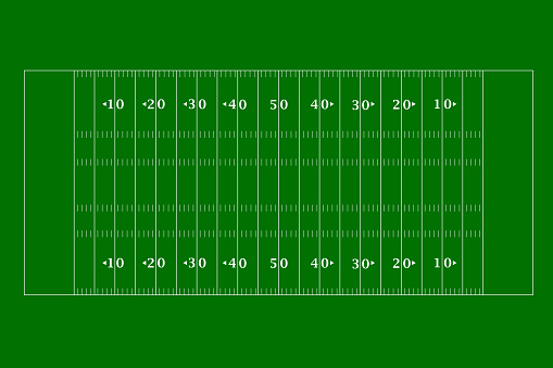 American football field top view in a flat design. Vector illustration