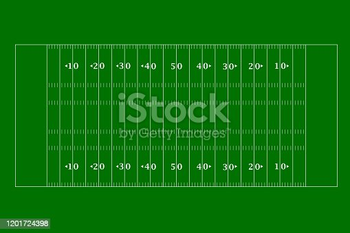 American football field top view in a flat design. Vector illustration.