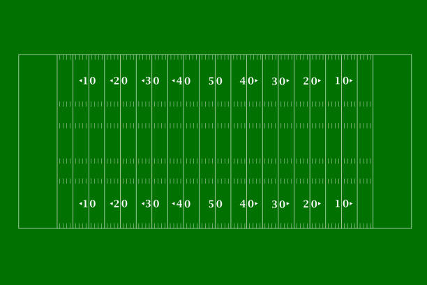 american football field top view in a flat design. vector illustration - football field stock illustrations