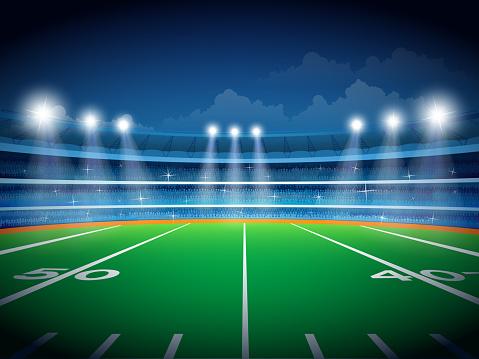 American football field. Vector file, Eps 10