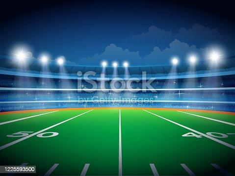 istock American football field. Vector file, Eps 10 1225593500
