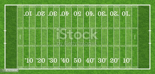 american football field with line and realistic grass texture, top view, vector illustration