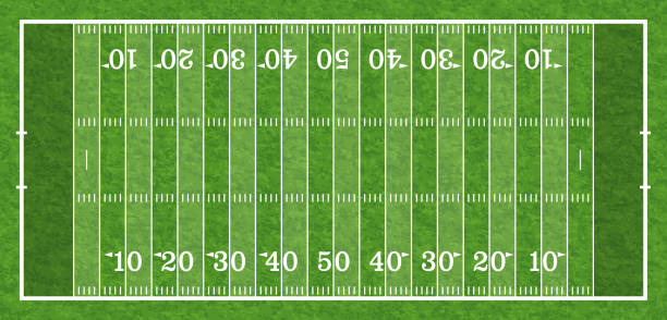 American Football Field american football field with line and realistic grass texture, top view, vector illustration american football field stock illustrations