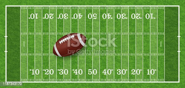 american football field with line, realistic ball and grass texture, top view, vector illustration