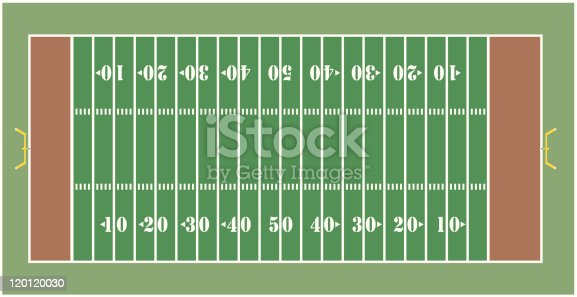 Illustration of an American football field - View from above