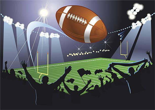 stockillustraties, clipart, cartoons en iconen met american football field - football friends tv night