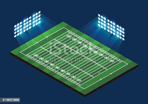 American Football Field. Stadium with light. Vector illustration