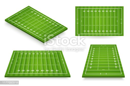 American football field vector illustration. Football pitch set in various angle views. Stadium icon isolated on white. Element for your design.