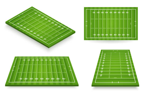 american football field vector illustration. football pitch set in various angle views. stadium icon isolated on white. element for your design. - football field stock illustrations