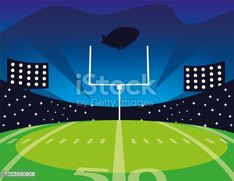 american football field with bright lights