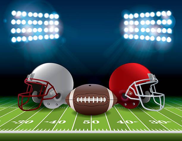 ilustrações de stock, clip art, desenhos animados e ícones de campo de futebol americano com bola capacetes e ilustração - primeiro down futebol americano