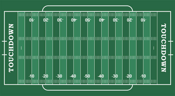 american football field with marking. football field in top view with white markup - football field stock illustrations