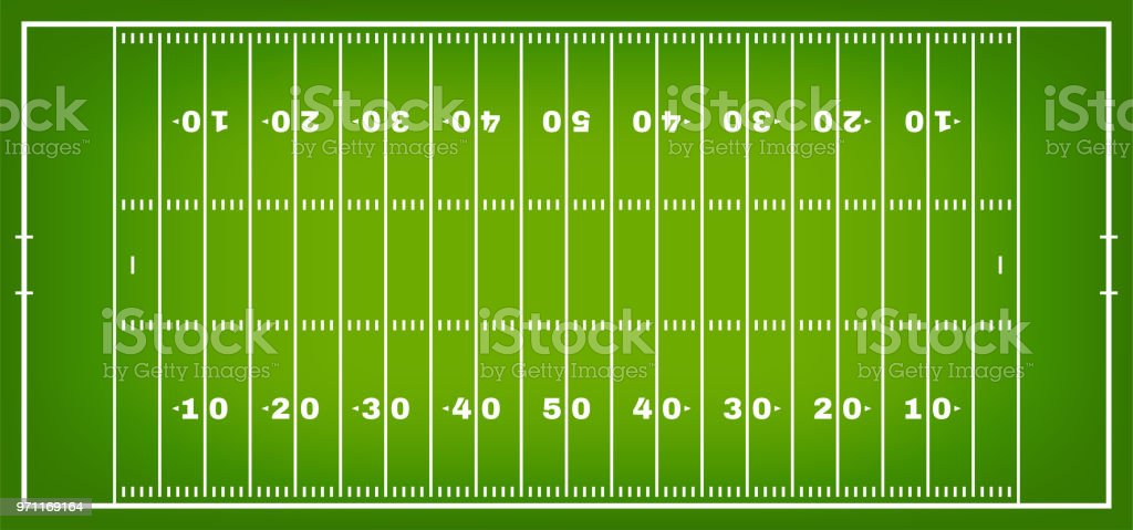 American football field with marking. Football field in top view with white markup vector art illustration
