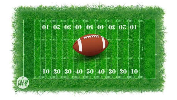 American football field with real grass textured, Vector illustration vector art illustration