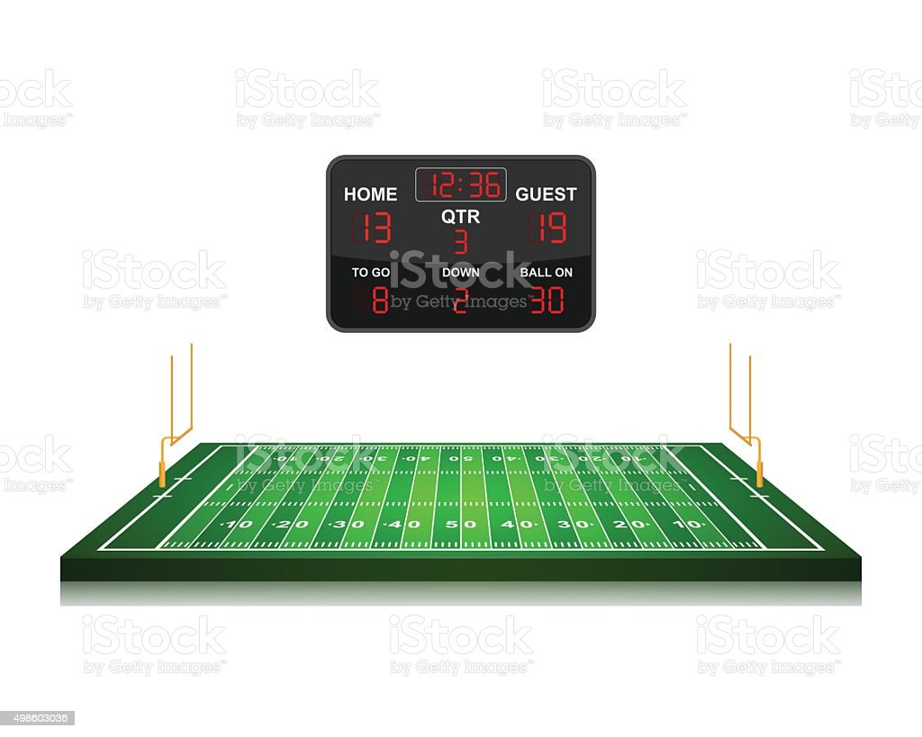 American Football field with scoreboard,vector vector art illustration